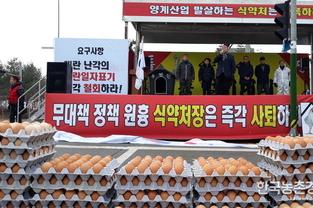 전국 양계인들 '식약처'로 몰려가 대규모 항의시위
